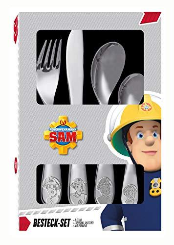 POS 27138 - Besteckset mit Feuerwehrmann Sam Prägung, 4 teiliges Kinderbesteck aus rostfreiem...