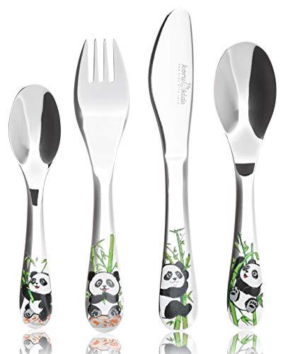 Koru Kids® Kinderbesteck Panda – 4-teiliges Set – aus rostfreiem Edelstahl – Esslernbesteck -...