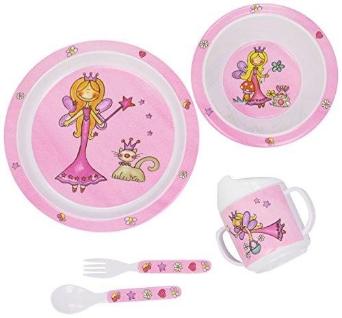 Bieco Baby Geschirrset Prinzessin | 5-teiliges Baby Geschirr | Kindergeschirr aus Melamin | Geschirr...