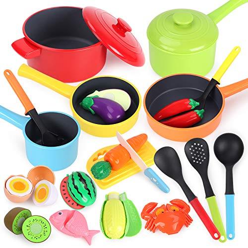 GILOBABY Küchenspielzeug für Kinder,kindergeschirr spielküche mit 23 pcs Zubehör,Schneiden...