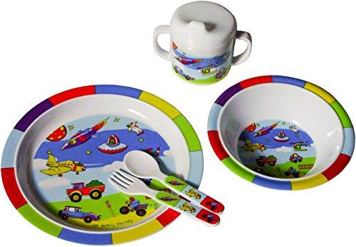 Bieco Baby Geschirrset Fahrzeuge | 5-teiliges Baby Geschirr | Kindergeschirr aus Melamin | Geschirr...