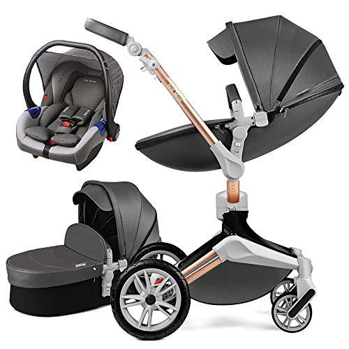 Hot Mom 3 in 1 Kombikinderwagen mit Buggy und Babywanne 360 Drehbar Kinderwagen, Hohe Landschaft...