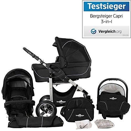 Bergsteiger Capri Kinderwagen 3 in 1 Kombikinderwagen Megaset 10 teilig inkl. Babyschale, Babywanne,...