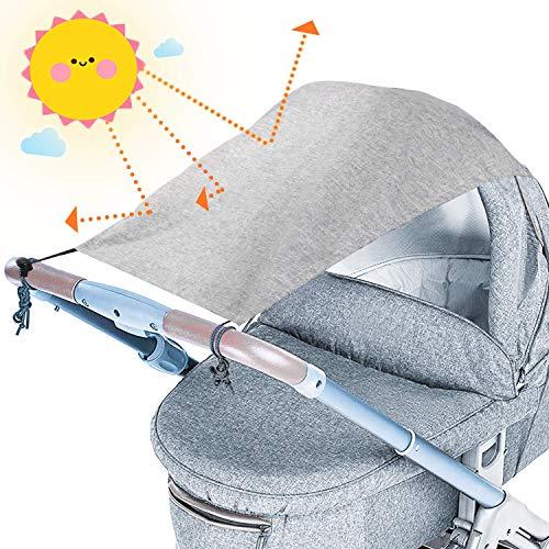 tEEZErshop Universal Sonnensegel für Kinderwagen mit UV Schutz Beschichtung 50+| Reißfester &...