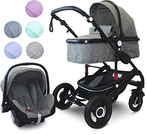 VCM Kombi - Kinderwagen, Babywagen 2in1 oder 3in1'VCK Kidax' 3in1 - mit Babyschale: Dunkelgrau