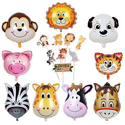 Kinder-geburtstags-deko set,9 Folienballon Dschungel Tiere Helium und Tier Torte Toppers Cupcake...
