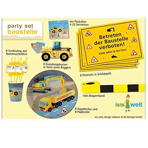Party-Set, Bauarbeiter-Motiv, 61 Teile, Kindergeburtstagsdeko