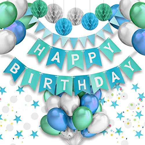 PushingBest Geburtstagsdeko, Party Deko Set Blau Alles Gute zum Geburtstag Girlande Ballons...