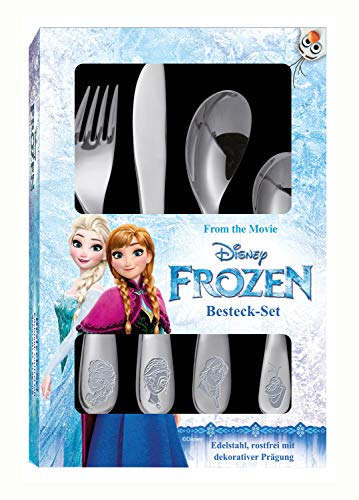 POS 25650 - Besteckset mit Disney Frozen Prägung, 4 teiliges Kinderbesteck aus rostfreiem...