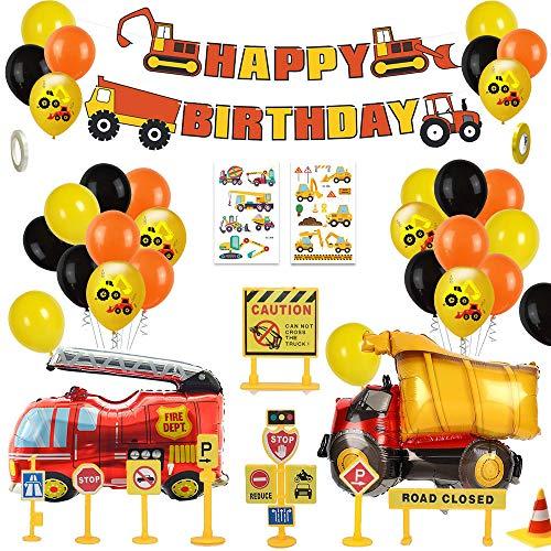 MMTX Bagger Kinder 2 Jahre Happy Birthday Deko Luftballons Geburtstagsdeko Jungen 1 Jahr mit Happy...