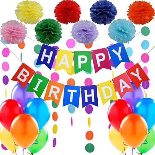 Geburtstagsdeko, Kindergeburtstag Deko,Geburtstag Dekoration Set.1 Happy Birthday Wimpelgirlande,8...