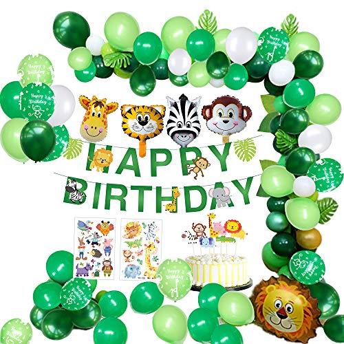 MMTX Dschungel Geburtstag Dekorationen Junge- Kindergeburtstag Deko Happy Birthday Girlande mit...